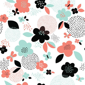 Scattered flowers // by petite_circus // black and white mint coral peach // cute baby kids nursery //