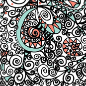 Mint Coral Black White Hand Drawn Spiral | Zen Doodle | Zentangle