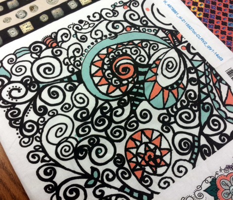Mint Coral Black White Hand Drawn Spiral | Zen Doodle | Zentangle