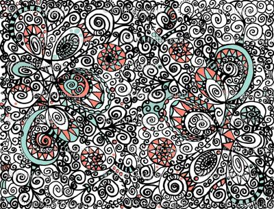 Mint Coral Black White Hand Drawn Spiral | Zen Doodle |