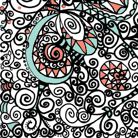 Mint Coral Black White Hand Drawn Spiral | Zen Doodle |   fabric by bohobear on Spoonflower - custom fabric