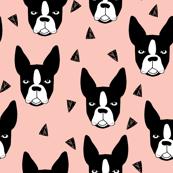 boston terrier // cute boston terriers pink girls sweet dog breed fabric