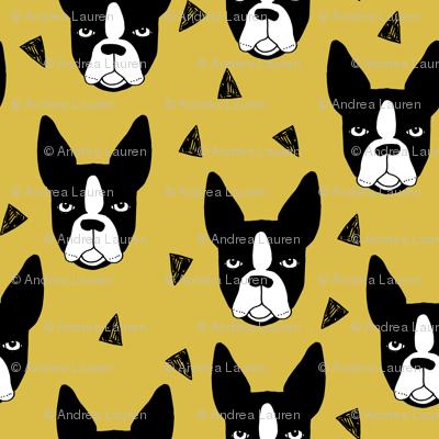 boston terriers // boston terrier dog face mustard yellow cute dog design