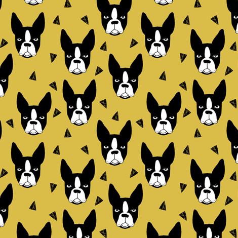 boston terriers // boston terrier dog face mustard yellow cute dog design fabric by andrea_lauren on Spoonflower - custom fabric