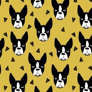 boston terriers // boston terrier dog face mustard yellow cute dog design