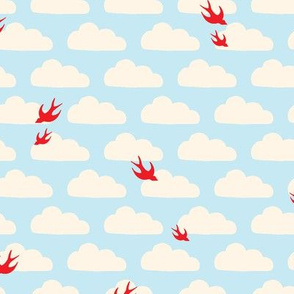 Red Birds in Clouds