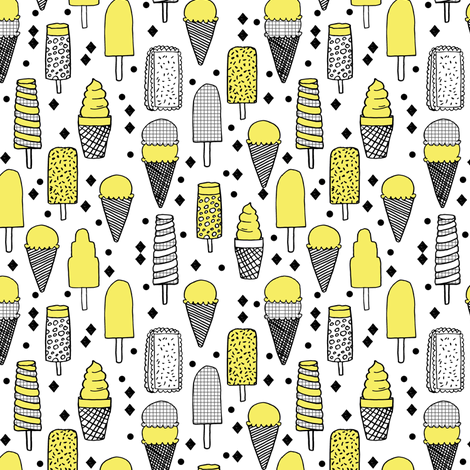 ice cream // ice creams hand-drawn illustration ice cream cone summer treats summer sweets fabric by andrea_lauren on Spoonflower - custom fabric