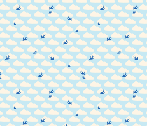 Bluebirds in the Clouds fabric by katebillingsley on Spoonflower - custom fabric