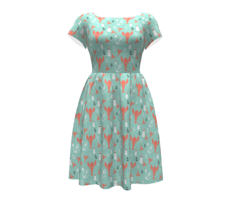 Maritime icons - in coral and mint
