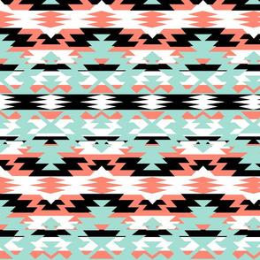 Navajo Tribal Print - coral, mint, black, white
