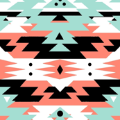 Navajo Tribal Print - geometric coral, mint, black, white