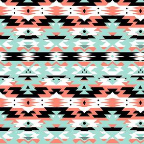 Navajo Tribal Print - geometric coral, mint, black, white