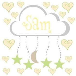 star moon heart mobile - kiwi lemon lime  personalized