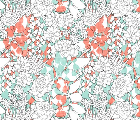 The succulent garden fabric cjldesigns spoonflower for Cj garden designs