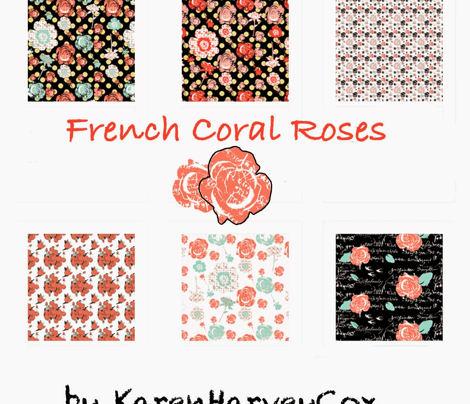 Rose Sketches, coral and mint