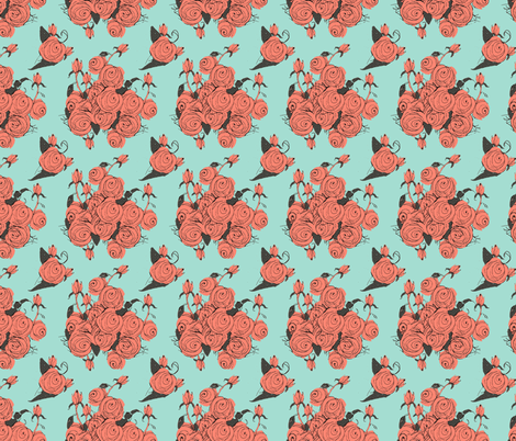 Rose Sketches, coral and mint fabric by karenharveycox on Spoonflower - custom fabric