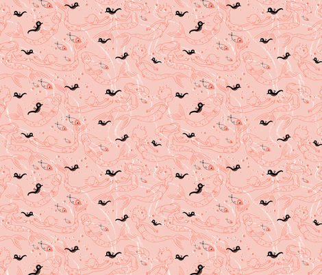 More mermaids, coral fabric by sanneteloo on Spoonflower - custom fabric