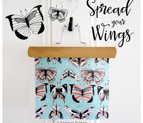 Spread Your Wings Butterflies Retro Aqua