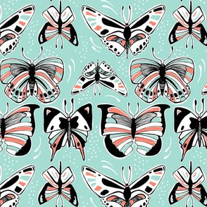 Spread Your Wings - Butterflies Retro Aqua