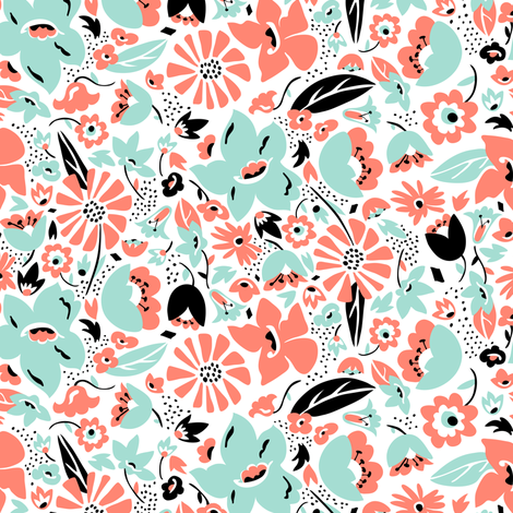 Betty - Floral Retro Pink Aqua & Black fabric by heatherdutton on Spoonflower - custom fabric