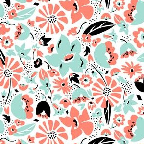 Betty - Floral Retro Pink Aqua & Black