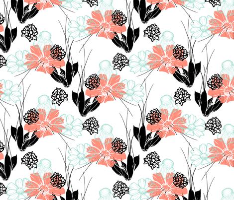 Coral Spring Floral fabric by scarletcrane on Spoonflower - custom fabric