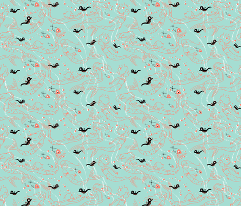 More mermaids, little fabric by sanneteloo on Spoonflower - custom fabric