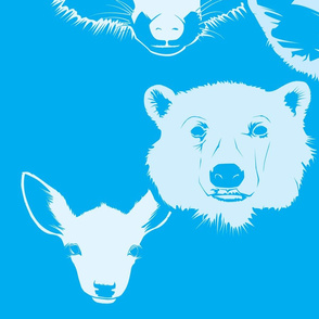 Enlarged MooShoes Animal Pattern—white on blue
