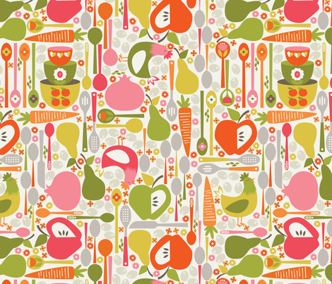 In My Kitchen fabric by oliveandruby on Spoonflower - custom fabric