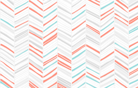 Herringbone Hues of Coral & Aqua by Friztin fabric by friztin on Spoonflower - custom fabric