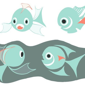 Fish Chum-in Coral-Mint Gray