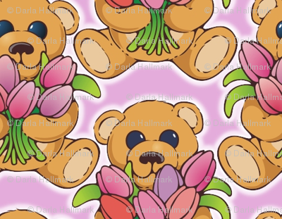 Teddy bear with tulips