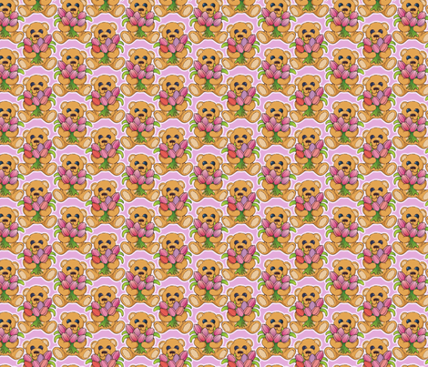 Teddy bear with tulips fabric by hannafate on Spoonflower - custom fabric