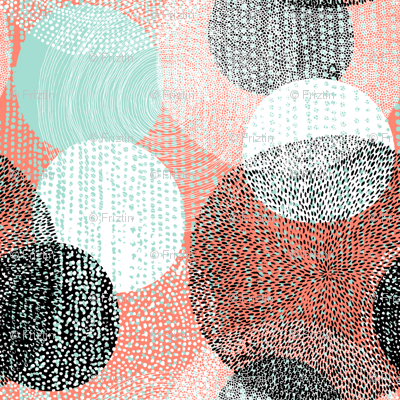 Mandalas in Mint, Coral, Black and White by Friztin
