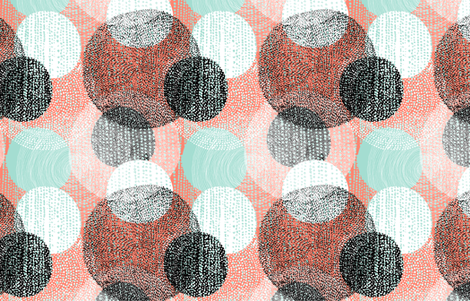 Mandalas in Mint, Coral, Black and White by Friztin fabric by friztin on Spoonflower - custom fabric