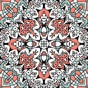 Doodle4 Mint and Coral 01 - 6 in.