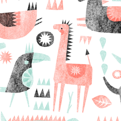 coral mint animal party fabric by wideeyedtree on Spoonflower - custom fabric