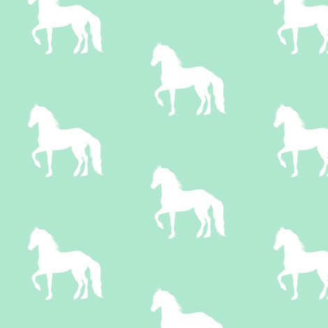 White Prancing Horse on Mint fabric by thistleandfox on Spoonflower - custom fabric
