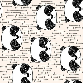 panda // railroad pandas fabric cute illustration scandi kawaii nursery fabrics