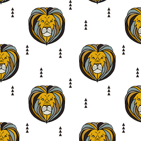 lion // young and brave fabric by littlearrowdesign on Spoonflower - custom fabric