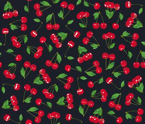 Very Cherry - Black fabric by juliesfabrics on Spoonflower - custom fabric
