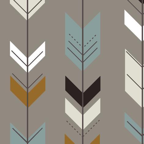fletching arrow // brown fabric by littlearrowdesign on Spoonflower - custom fabric