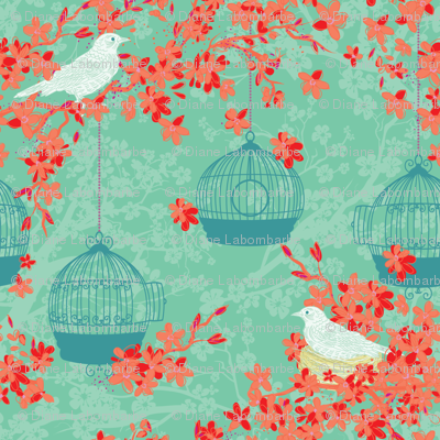 Cherry Blossoms And Nesting Birds