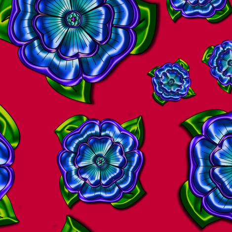 Pink with Blue Flower fabric by stradling_designs on Spoonflower - custom fabric