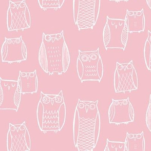 """Little"" Night Owl Pink/White wallpaper - leanne - Spoonflower"