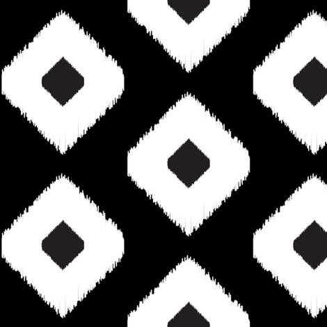 Ikat Diamonds // Black and White fabric by littlearrowdesign on Spoonflower - custom fabric