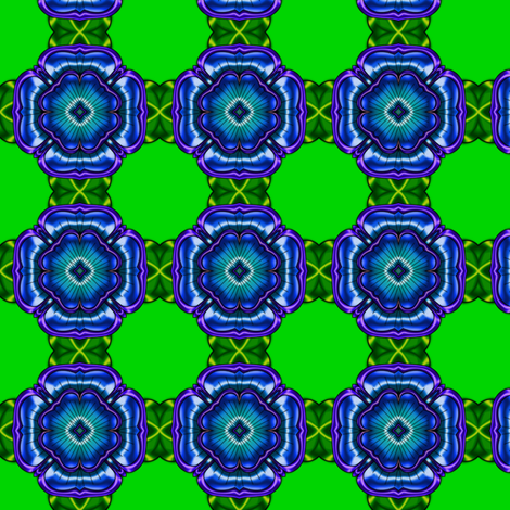 Green with Blue Flower fabric by stradling_designs on Spoonflower - custom fabric