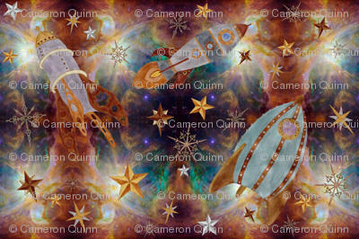 Steampunk nebula fabric thecameronquinn spoonflower for Nebula fabric by the yard