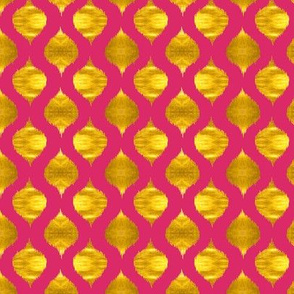 Small Scale Lela Ikat in Fuchsia and Gold Luster