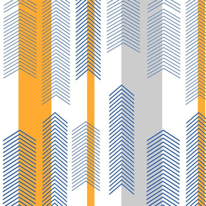 chevron stripe in tangerine & bluetangerine_navygray